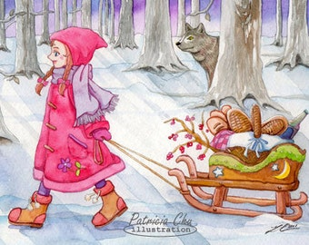 Little Red Riding Hood - Watercolour Illustration