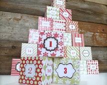 Christmas Countdown, Advent Calendar, Printable Advent Calendar Boxes, Printable PDF, Instant Download