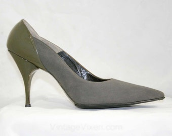 Smoke Suede Stilettos - 1950s Shoes - High Heels - Gray - DeLiso - Patent Leather - Deadstock - Size 6.5 A  41449-1