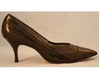 Chic 1950s Tawny Brown Patent Stilettos - Size 9 N - Shoes -  Heels - Narrow - Never Worn - Deadstock - 3 Inch Heel - Glossy - 34351-1