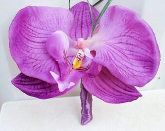 Lavender orchid boutonniere Wedding boutonnieres