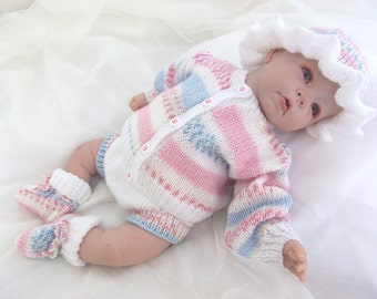 "Gorgeous knitting pattern to fit 0-3 month baby/18-22"" reborn - Lovely outfit"