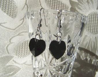Heart Earrings Jet Black Swarovski Crystal Heart Earrings