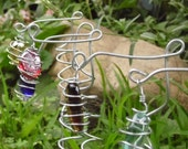 Wire Wrap Plant Stakes Garden Art Whimsy Fairy Garden  Rainbow Colorful Gems Plant Marker
