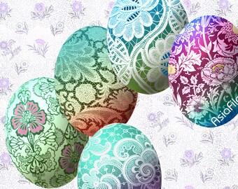 Printable  Digital Collage Sheet Digital Art Printable Download 40 X 30 mm  Ovals, Cabochons, Easter Eggs, Embellishments, EGGS 8