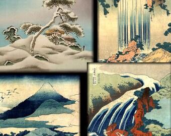 Digital Collage Sheet,  ACEO Size, Digital Art,  Antique Japanese Landscapes, Instant Downloads, Printable,  2 Sheets Backgrounds ACEO 5