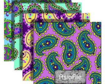 Printable Digital Paper for Bead Making, Instant Download, 2 Inch Squares, Multicolor, Paisley, 12 Designs, Digital Collage Sheet, BP 6