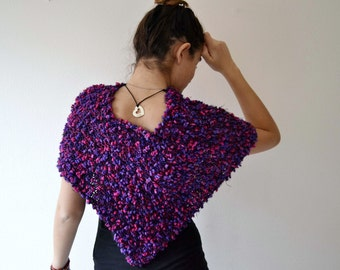 Radiant Orchid Knit Poncho and Knit Cape Wrap Shawl