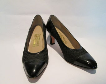 Vintage Black Patent Leather Shoes by Salvatore Ferragamo, Size 7