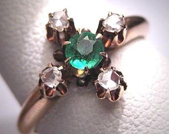 Antique Victorian Emerald Rose Cut Diamond Ring Vintage