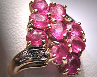 Vintage Ruby Diamond Ring Estate Gold Fine Jewelry Retro Deco