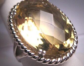 Vintage Large Canary Citrine Ring Filigree Gemstone Victorian Silver