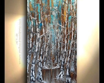 ORIGINAL Tree Painting Vertical Hand painted Oil Painting Aspen Birch Art Brown Pewter Gold Blue metallic Artwork Fine art canvas by OTO