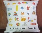 Beach Throw Pillow Cover 14X14