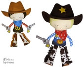 Cowboy Sewing Pattern PDF Sheriff DIY Cloth Doll Country Western Toy - includes removable bandana felt hat belt & guns