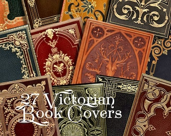 Victorian Book Covers 27 Images ATC Printable Download 2.5 x 3.5 Digital Collage Steampunk Backgrounds ACEO ATC Scrapbooking Ephemera  298