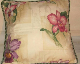 French Country Romantic Cottage Pillow Floral Garden Toile Ivory Green Pink Iris Orchards