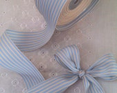 """Light Blue and Ivory Grosgrain Striped Ribbon 1.5"""" wide 3 yards (9 feet)"""