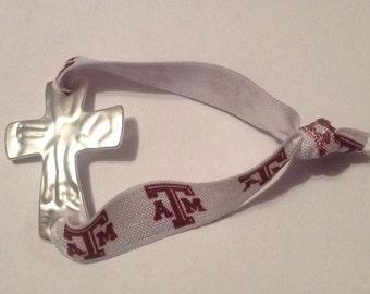 Sideways Metal Cross Bracelet on Texas A&M elastic