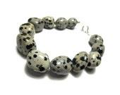 Bracelet With Mexican Dalmatian Jasper Stone, Black, Brown, Grey Tones