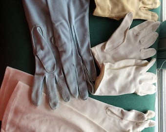 Vintage 4 Pairs of Gloves with Detailed Stitching Cloth With, Ivory and Blue