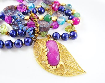 Violet Purple Leaf Beaded Necklace Gypsy Jewelry Hippie Bohemian Artisan - One Of a Kind