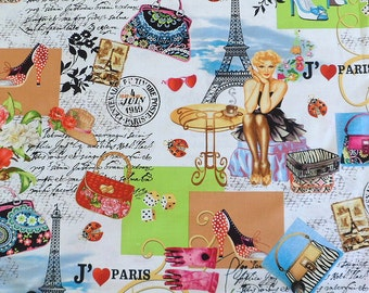 Paris Cotton Fabric Colorful Fabric Eiffle Tower Fabric  I Love Paris Material Timeless Treasures