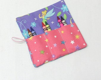 Crayon Roll Up, Party Favors,  Tinkerbell Fabric