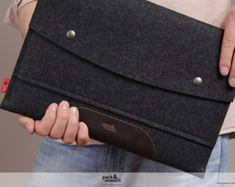 "MacBook 13"" AIR sleeve, case, cover, 100% wool felt, vegetable tanned leather, Hampshire LTS-ADB-AIR13"