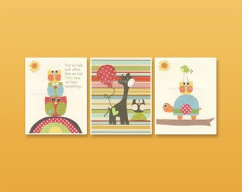 Nursery Decor For Baby Room - Nursery Wall Art Decor Set of 3 Prints 8x10, Featuring Jungle Friends - Yellow, Blue, Green, Orange