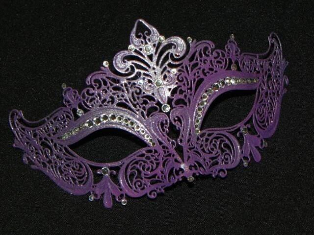 Purple Masquerade Mask with Glitter Accents - photo#27
