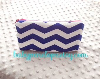 Pencil Case/Cosmetic Bag/ Gadget Case - Blue and white chevron- ready to ship