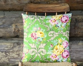 "green floral decorative throw pillow cover with ties /18"" x 18"" / reversible / flowers / yellow pink  blue / shabby chic / home decor"