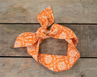 LAST ONE, orange and cream damask headscarf, fall halloween, tie up headband, adjustable, summer and fall fashion, knotted headband