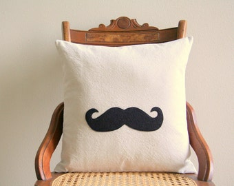 "mustache silhouette pillow cover, industrial rustic, appliqued, 16"" x 16"", urban farmhouse cottage home decor, kids decor, father's day"
