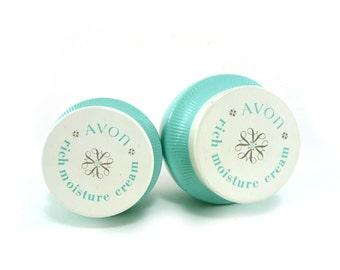 Vintage aqua Avon rich moisture cream glass jars, Product packaging