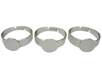 40 Blank Ring Findings with 9mm Gluepad and adjustable ring size