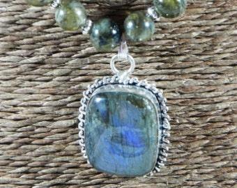 "Purple fire labradorite necklace 17"" long square pendant gray blue green pendant semiprecious stone jewelry in a gift bag 10468"