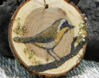 Common Yellowthroat gift tag original sand painting on wood slice wedding shower favor Christmas tree ornament birds baby present