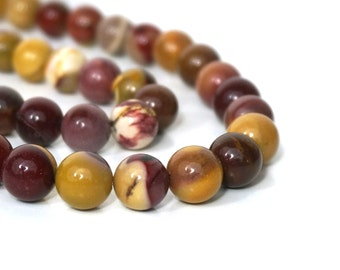 Moukaite Jasper beads, 10mm round natural gemstone, red / yellow,  full & half strands available  (1015S)