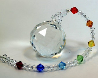 Suncatcher mw Swarovski 30mm Crystal Ball & LONGER Chakra Strand Rainbow Maker Car Charm Home Window Ornament, Pearl Place N More