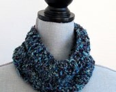 Knit Purple and Blue Cowl Neck Warmer