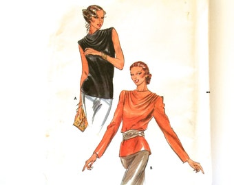 70s/80s Butterick 6910 Cowl Blouse, Loose Fitting, Back Buttoned Size 10 Bust 32