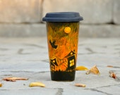 Halloween Coffee Travel Mug - Thanksgiving  Eco-Cup - Black Orange Pumpkin mug - Halloween Bats - Black Silicon Lid