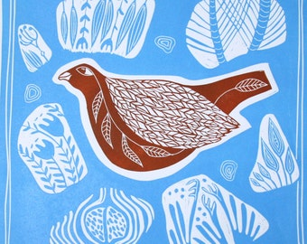 linocut,Soulmates II,bird,abstract,sky blue,orange,nature,pods,seeds,russet,terracotta,flowers,shapes,pattern,printmaking,blue and red,fall