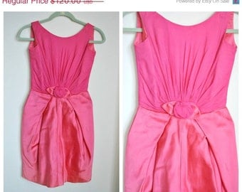 Party Dress XXS Pink Party Dress - Girl Rose 1960s Dress - 60s Mini Petite Formal Dress
