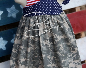 Stars and Stripes welcome home or 4th of July halter dress ACU ABU NWU Multicam