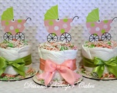 Mini Baby Diaper Cakes Pink Girls Set of 3 Shower Gifts or Centerpieces