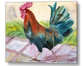 Rooster Art Chicken Print on Wood by Janet Zeh