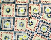 SALE intage Fabric Country MOD 1960s Fun DAISY Floral FabricSALE